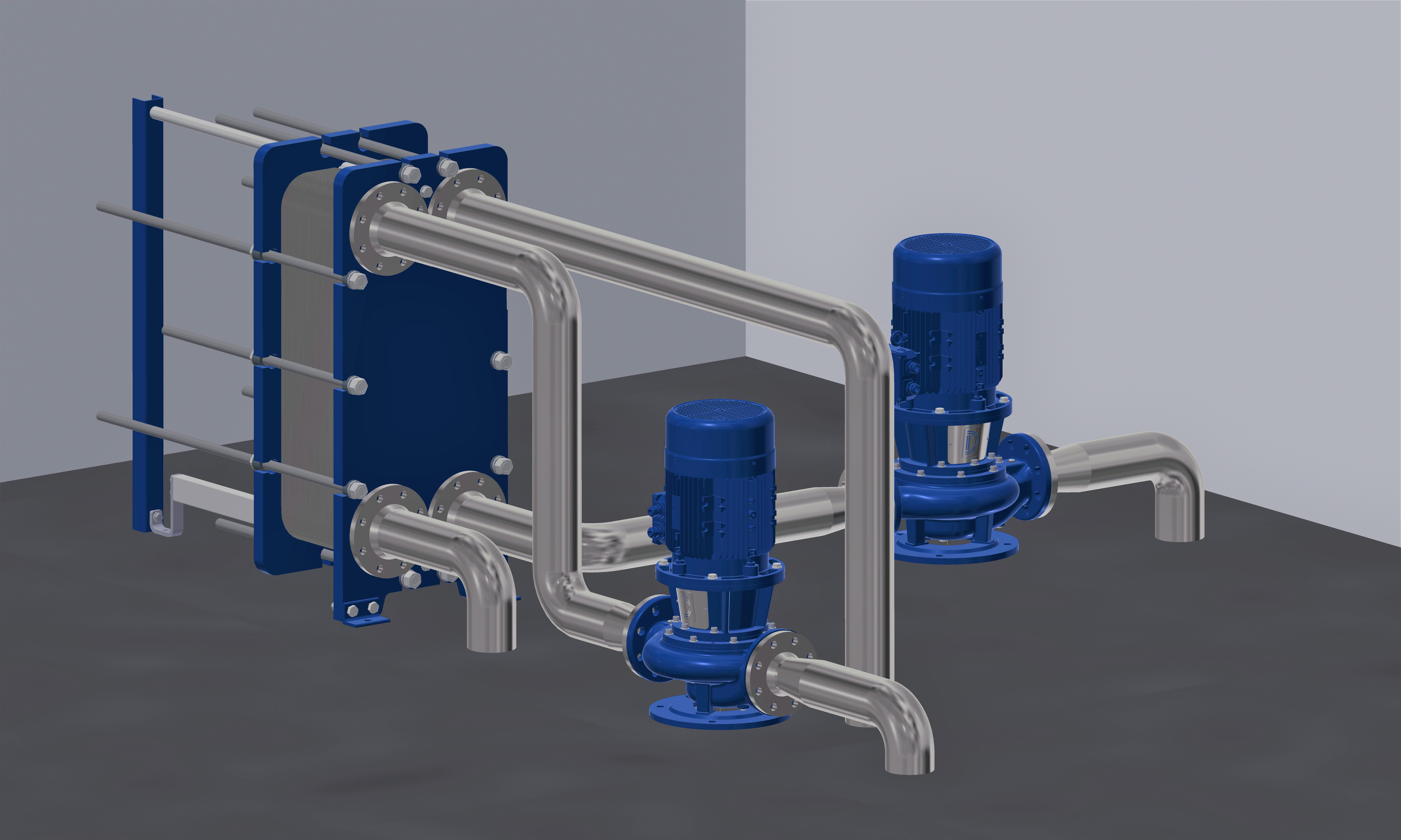 Plate heat exchanger unit with inline pumps